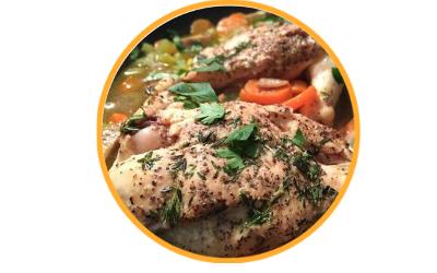 Kurczak pieczony ze świeżymi ziołami i cytryną